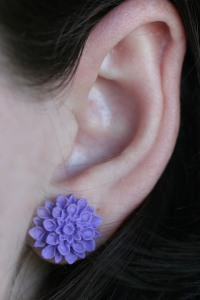 purple clay dahlia earring