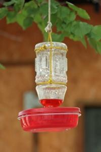 DIY hummingbird feeder hanging