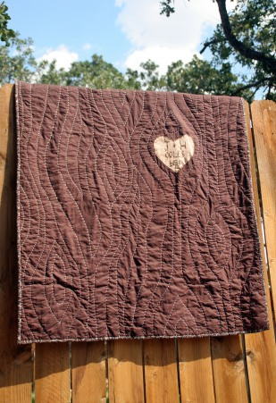 brown and tan faux bois hand quilted tree quilt