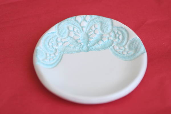 aqua lace imprint clay bowl