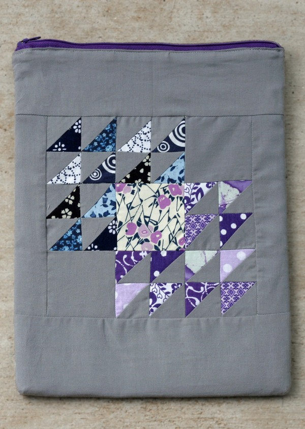 Color Gradient Winged Square Quilt Block Zipper Tablet Case