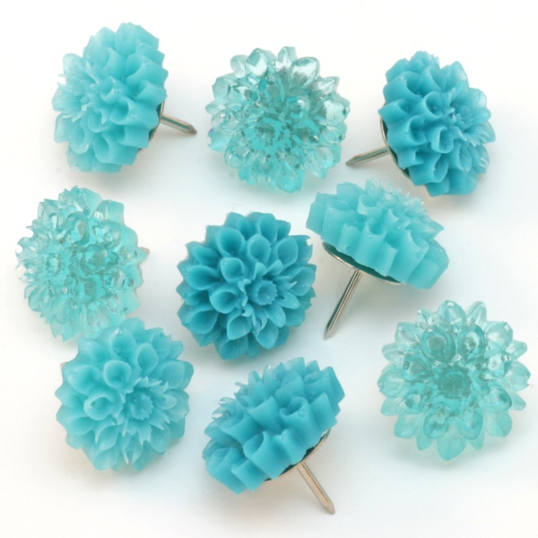 Blue Resin Flower Thumb Tacks