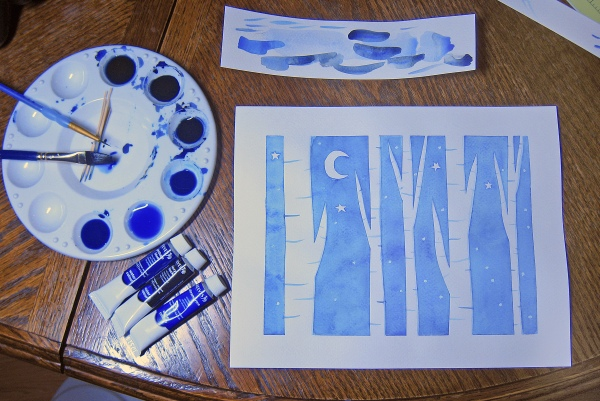 Easy water color aspen trees diy