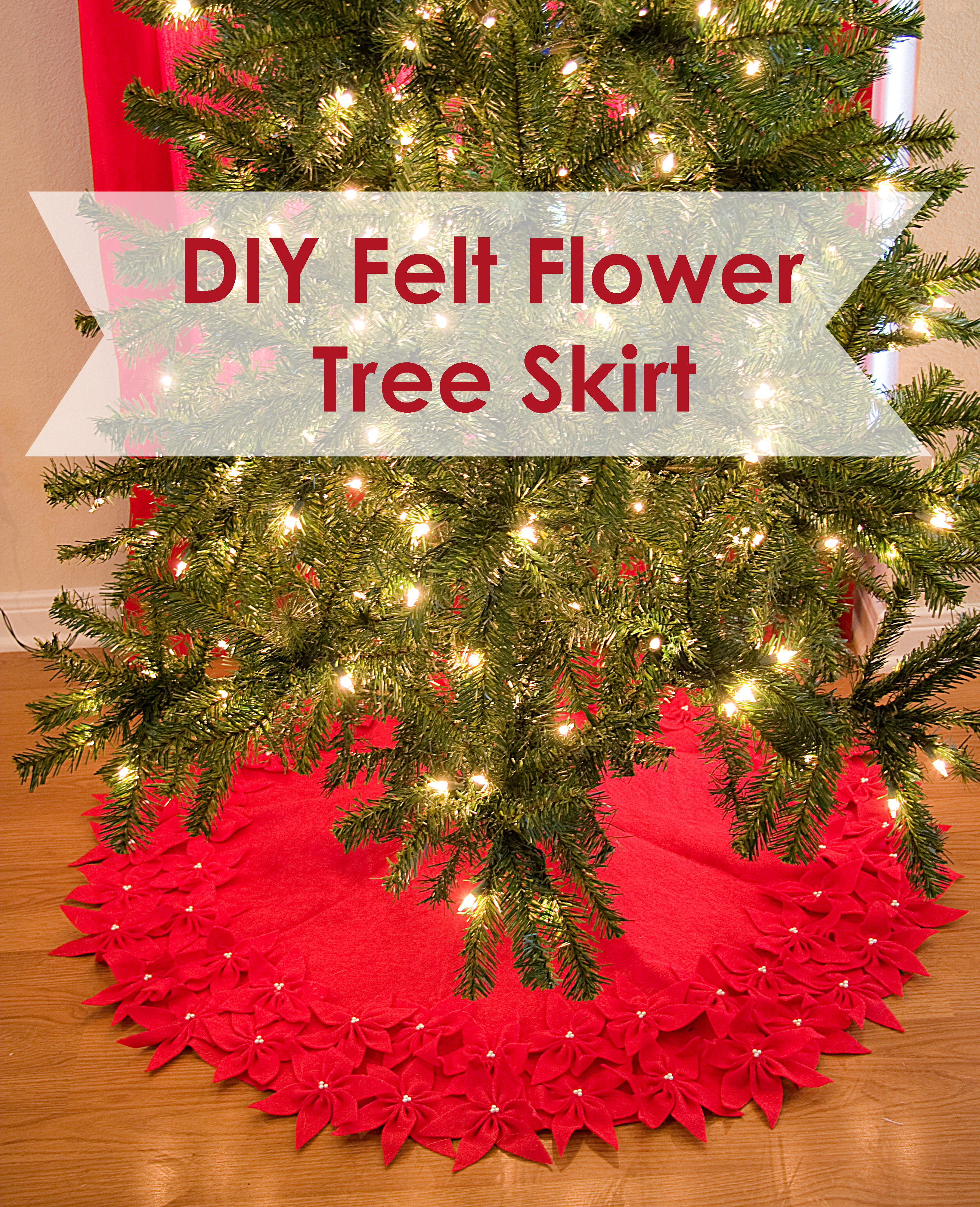 Felt FLower Tree Skirt - Stars and Sunshine - Sugar Bee Crafts
