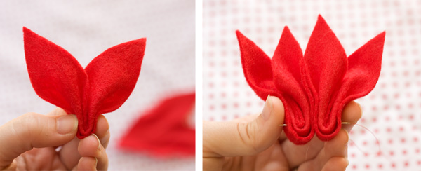 Felt Poinsettia Instructions
