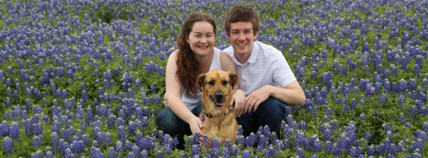 Julia from Stars & Sunshine with her husband and puppy